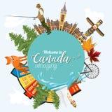 Voyage au Canada Conception légère forme de cercle Illustration canadienne de vecteur Rétro type Carte postale de voyage illustration de vecteur