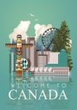Voyage au Canada postcard Illustration canadienne de vecteur Identique et la patience Rétro type Carte postale de voyage Photos stock