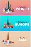 Voyage au monde Avion avec des attractions Ensemble de bannières de voyage Style plat Photo libre de droits