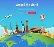Voyage au monde Voyage par la route tourisme Points de repère sur le globe Calibre de site Web de concept Vecteur Photo libre de droits