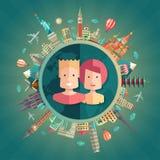 Voyage autour de l'illustration plate de conception du monde illustration stock