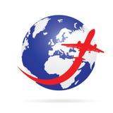 Voyage autour du monde avec l'avion Image libre de droits