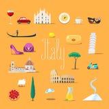 Voyage aux icônes de vecteur de l'Italie réglées Points de repère italiens, cathédrale, gandola Illustration Stock
