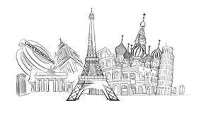 Voyage aux points de repère de l'Europe illustration stock