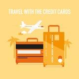 Voyage avec les cartes de crédit Photos stock