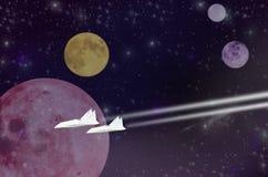 Voyage blanc de deux jets dans l'espace lointain Images libres de droits