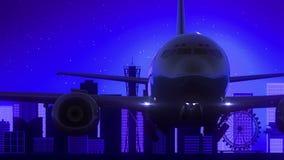 Voyage bleu d'horizon de nuit de lune de Kobe Japan Airplane Take Off illustration libre de droits