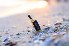 Voyage - bottle with the inscription Royalty Free Stock Photography
