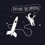 voyage d'Enfant-astronaute dans l'espace extra-atmosphérique illustration stock