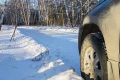 Voyage d'hiver en la voiture à la forêt Photographie stock