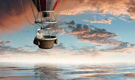 Voyage d'homme d'affaires sur le ballon à air Image stock