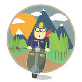 Voyage d'homme avec la moto Image libre de droits