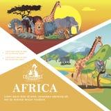 Voyage de bande dessinée au calibre coloré de l'Afrique photos libres de droits