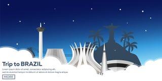 Voyage de bannière vers le Brésil, Rio de Janeiro Horizon d'affiche Illustration de vecteur Images libres de droits