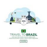 Voyage de bannière vers le Brésil, Rio de Janeiro Horizon d'affiche Illustration de vecteur Photographie stock libre de droits