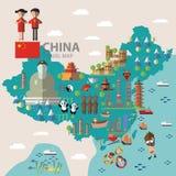 Voyage de carte de la Chine Image libre de droits