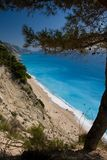 Voyage de ciel bleu de l'Europe de mer de nature de plage d'été de Leucade Grèce Images stock