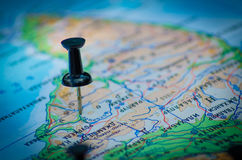Voyage de destination de carte de punaises Images libres de droits