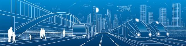 Voyage de deux trains par chemin de fer Tours d'autobus sur la route de ville Ville moderne de nuit Scène urbaine Les gens marcha illustration de vecteur