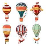 Voyage de fève chaud d'icônes de vecteur de ballon à air le rétro monte en ballon le cloudhopper de festival Photos libres de droits