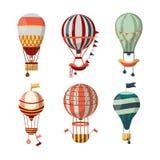 Voyage de fève chaud d'icônes de vecteur de ballon à air le rétro monte en ballon le cloudhopper de festival Images stock