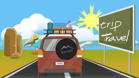 Voyage de famille à voyager en voiture sur la route illustration de vecteur