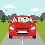 Voyage de famille en la voiture Vecteur Photo stock