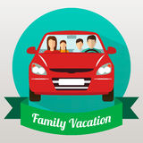 Voyage de famille en la voiture Vecteur Photo libre de droits
