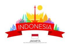 Voyage de l'Indonésie, voyage de Jakarta, points de repère illustration stock