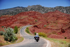 Voyage de moto d'aventure Photographie stock
