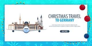 Voyage de Noël vers l'Allemagne Neige et roches de bateau Illustration de vecteur Photos libres de droits