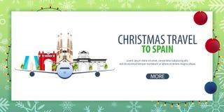 Voyage de Noël vers l'Espagne Neige et roches de bateau Illustration de vecteur Photographie stock libre de droits