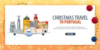 Voyage de Noël vers le Portugal Neige et roches de bateau Illustration de vecteur Photographie stock