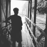 Voyage de pluie de vélo Photographie stock libre de droits