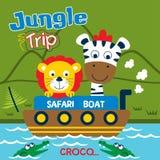 Voyage de safari avec la bande dessinée drôle de lion et de zèbre, illustration de vecteur illustration stock