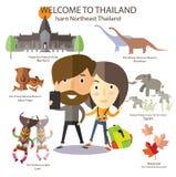 Voyage de touristes à Isarn Thaïlande du nord-est illustration libre de droits