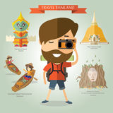 voyage de touristes vers la Thaïlande illustration stock