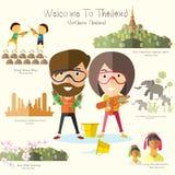 Voyage de touristes vers la Thaïlande du nord illustration libre de droits
