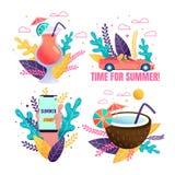 Voyage de voiture aux tropiques et à l'ensemble de promo de cocktail illustration stock