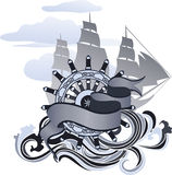 Voyage design element. Banner, hand wheel and sailing ship vector illustration