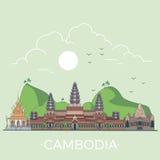 Voyage du monde dans la conception plate linéaire de vecteur du Cambodge Photo stock