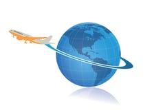 Voyage du monde et logo de la livraison Photographie stock libre de droits