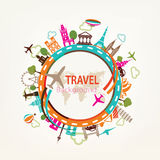 Voyage du monde, silhouettes de points de repère illustration libre de droits