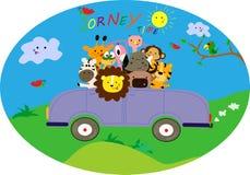 Voyage en la voiture Les petits animaux mignons ont un voyage gentil illustration stock
