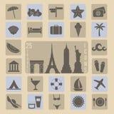Voyage, ensemble d'icône d'été Image libre de droits