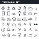 Voyage et ensemble plat d'icône de vecteur d'ensemble de thème de camping Photos stock