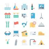 Voyage et icônes 4 de vecteur colorées par tourisme illustration stock