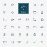32 voyage et icônes minimales d'ensemble de vacances illustration stock