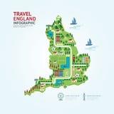 Voyage et point de repère forme de carte d'Angleterre, Royaume-Uni d'Infographic Photo stock