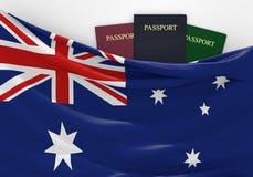 Voyage et tourisme dans l'Australie, avec les passeports assortis illustration de vecteur